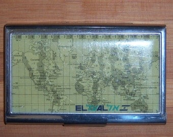 Vintage World Map Business Card Holder. Business Card Case.