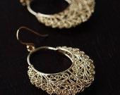 CLEARANCE SALE : 333 Gold Filigree Basket Earrings / Ornate Lace Earrings / dainty minimalist jewelry by lustre