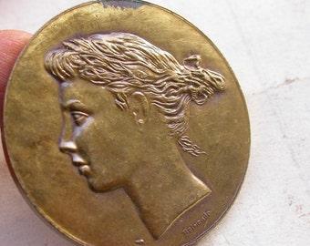 Signed French alliance french vintage medal gold gilt solid bronze Large  medal art nouveau antique medal woman crown flower
