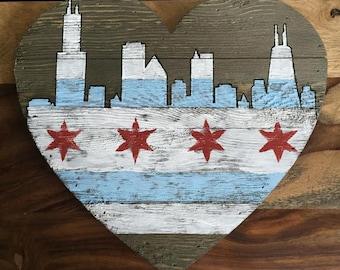 Chicago Flag, Chicago Skyline Art, Chicago Flag Wall Art, Chicago Flag Skyline Heart Wall Art, Wood Chicago Skyline, Heart Chicago