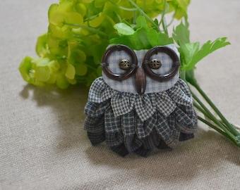 Barn Owl Brooch, Woodland Animal Jewelry, Handmade Gift for Girlfriend Sister Daughter, Handmand Accessory