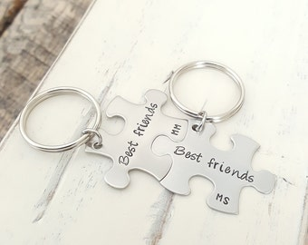 Best friends Keychains hand stamped puzzle piece set birthday gift for her