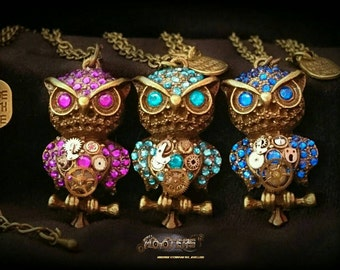 Custom deluxe Steampunk owl necklaces