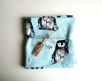 Penguin Swaddle Blanket ~ Baby Blue ~ Organic Cotton ~ Only one available ever!  FREE P&P