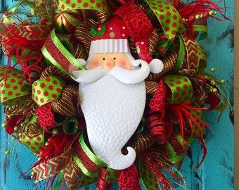 Deluxe Deco Mesh Christmas Wreath, Indoor Outdoor Wreath, Santa Wreath Personalized Option