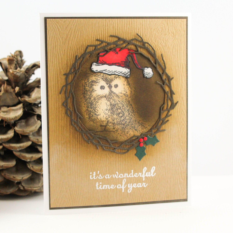 Handmade Owl Christmas Card Rustic Owl Christmas Card Unique