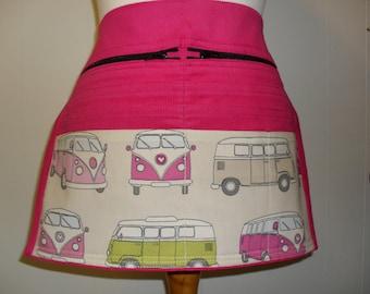 9 Pocket Cerise Pink with VW camper vans Corduroy Market Trader Money pocket / Vendor money apron. Craft apron. Item No. LDC0016
