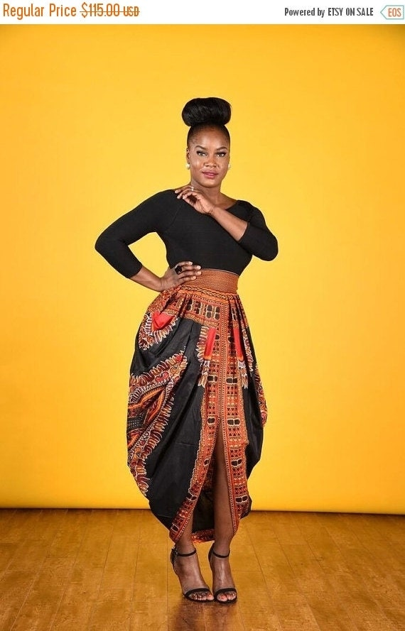 SPRING SALE Dashiki Harem Skirt-Black