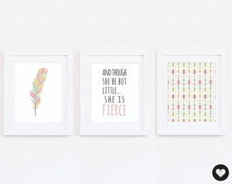 "Nursery Art Print. Quote: ""though she be but little she is fierce"". 3 Digital Prints. Boho Style. Feathers. Tribal. Instant Download."