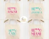 ANY LOCATION // Destination Wedding Tote Bag Bridesmaid Tote Bag Honeymoon Beach Bag Palm Tree Tote Gift Cotton Canvas Reusable Tote Hawaii
