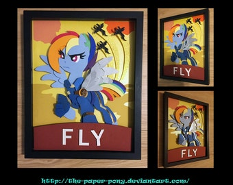 "11""x14"" War Rainbow Dash Poster Shadowbox"