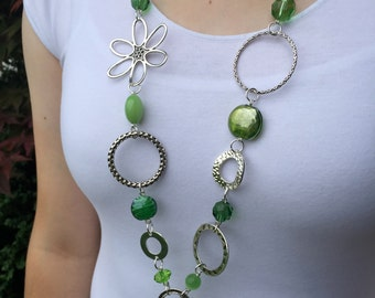 Chunky Green and Silver Lanyard Necklace