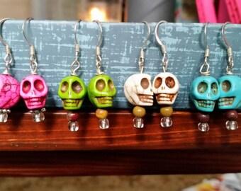 Howlite Skull Bead Dangle Earrings