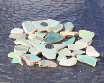30ct Assorted Greens 100% Genuine Ocean Tumbled Sea Glass Pottery Tiles from the Monterey Bay