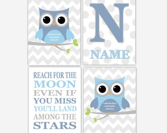 Baby Boy Nursery Wall Art Blue Gray Grey Owl Nursery Decor Reach For The Moon Boy Bedroom Art Monogram Baby Nursery Decor Owl Nursery Prints
