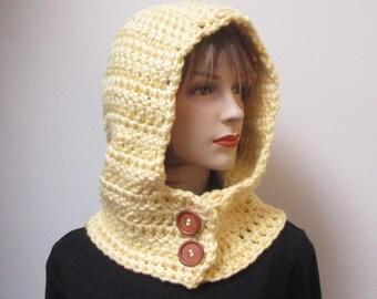 Light Yellow Hooded Cowl, Hoodie Scarf, Yellow Cowl, Gift for Women, Yellow Hat, Womans Hood Scarf, Neckwarmer, Caroline B4-112