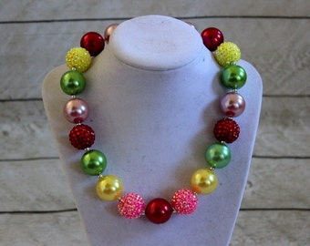 bubblegum chunky necklace girls red pink yellow purple green beaded necklace chunky bead necklace chunky bubblegum necklace bubble gum