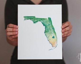 Florida Watercolor State Map, Original Painting, Art Print