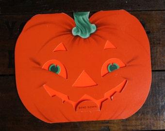 Norcross Halloween Greeting Card ~ Jack O'Lantern Die Cut ~ Signed