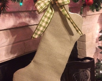 Burlap dog bone stocking with bow