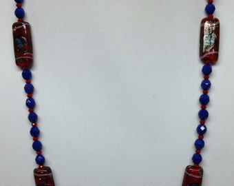 Blue & Red Becklace