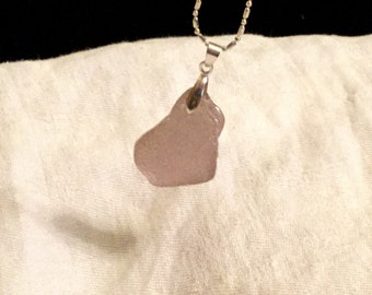 Genuine Sea Glass Necklace in Lavender Gray
