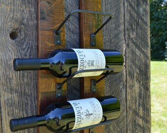 Wine Rack - Rustic, made from reclaimed wine barrels, holds up to 3 wine bottles