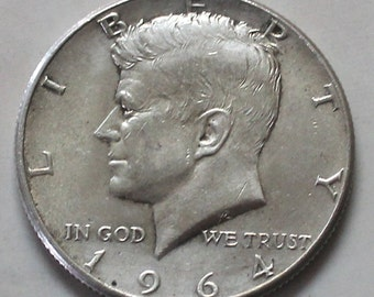 1964 Kennedy 90% Silver Half Dollar Coin  - sku 1297