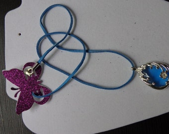 Blue and silver charm pendant