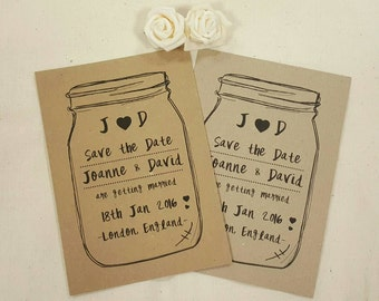 Personalised Save The Dates Wedding Love Jar A6 Postcard Invites Ribbed or Kraft with envelops