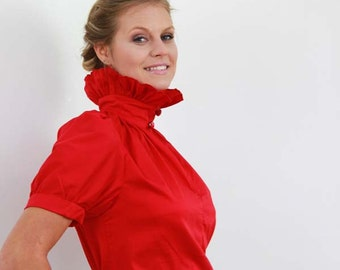 puff sleeves red shirt, stempunk clothing, red shirt, ruffle shirt, short sleeves red shirt