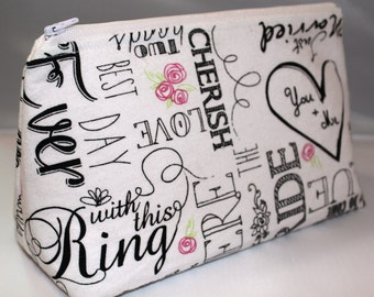 Bridal Zippered Pouch / Zippered Pouch / Cosmetic Bag