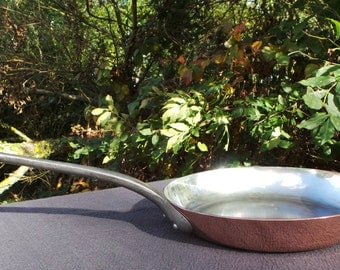 2mm Copper Frying Pan Copper Saute Pan Vintage French Copper Kitchen Staple Beautiful Fabrication Francaise Skillet Copper Pan