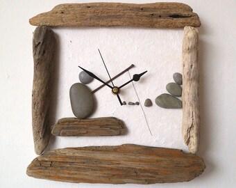 Driftwood Clock - Pebble Art Clock - Pebble Fisherman - Beach Wall Clock - Nautical Clock - Wood Art Clock - 3D Clock
