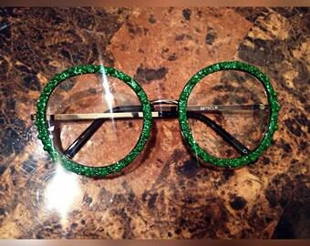 "Green ""Lucky"" Round Frame Sirens (glasses)"