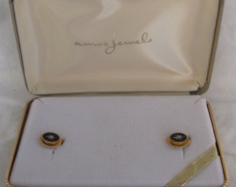 "Vintage Boxed ""AMCO JEWELS"" 14K GF White Spinel Engraved Black Petite Screw Back Earrings"
