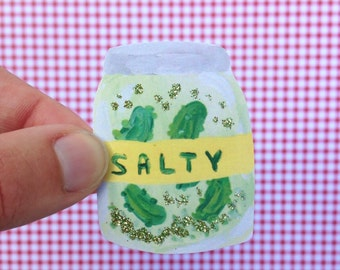 SALTY Pickle Sticker with Glitter