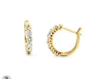 Diamond Earrings, Yellow Gold Earrings, Yellow Gold Diamond Earrings, Lever Back Earrings, Hoop Earrings With Diamonds  | EAR01708