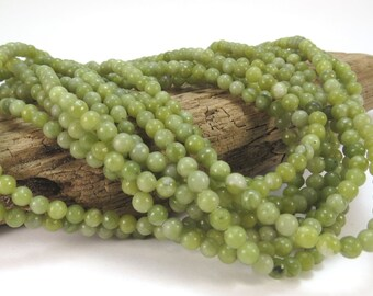 Green Serpentine Beads, Natural Green 4mm Green Beads, 16 inch Strand, Beading Supplies, Item 931pm