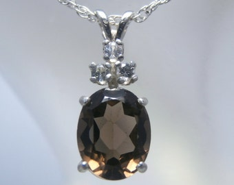 Genuine Smoky Quartz .925 Sterling Necklace with White Sapphire Accents! FREE Shipping!