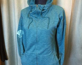 Mermiad ocean blue full zip tunic hoodie