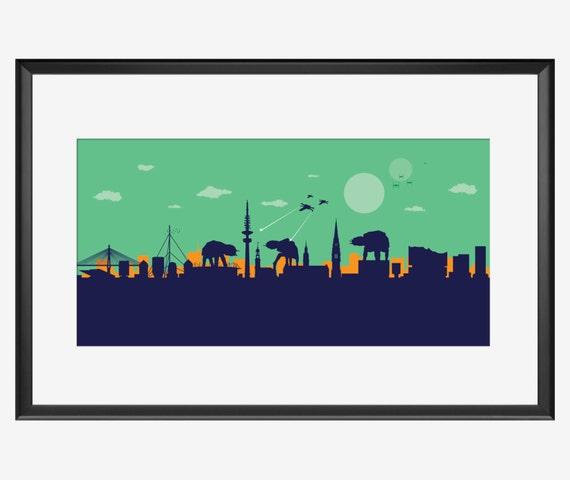 Hamburg Skyline print, Star Wars inspired print