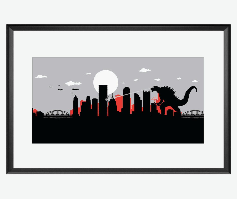 pittsburgh skyline print kaiju print godzilla inspired