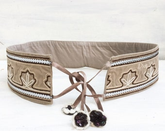Christian Dior fabric embroidered leather belt
