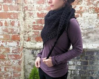 Black scarf with fringe  Spring scarf , Crochet triangle scarf . Women's scarf with tassels . Crochet shawl