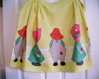 REDUCED!  Vintage Cotton Apron, Holly Hobbie Inspired Apron, Half Apron, Vintage Everyday Apron