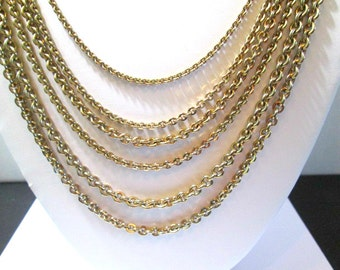 Coro Designer Long Multiple Strand Gold Tone Chain Necklace Fancy Clasp Signed