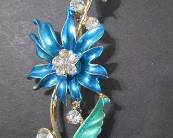 Blue Enamel and Rhinestone Flower Pin Vintage Pretty Great Gift Large