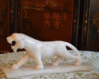 Exquisite Alabaster Antique Tiger Statue
