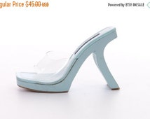 WINTER SALE Pastel Blue Wood Avant Garde Sculptural Minimalist High Heeled 90s Shoes Clear Plastic Jelly Sandals Womens Size 7